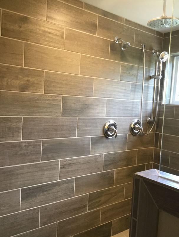 Emblem Gray 7x20 Tiles Installed Horizontal Brick Joint