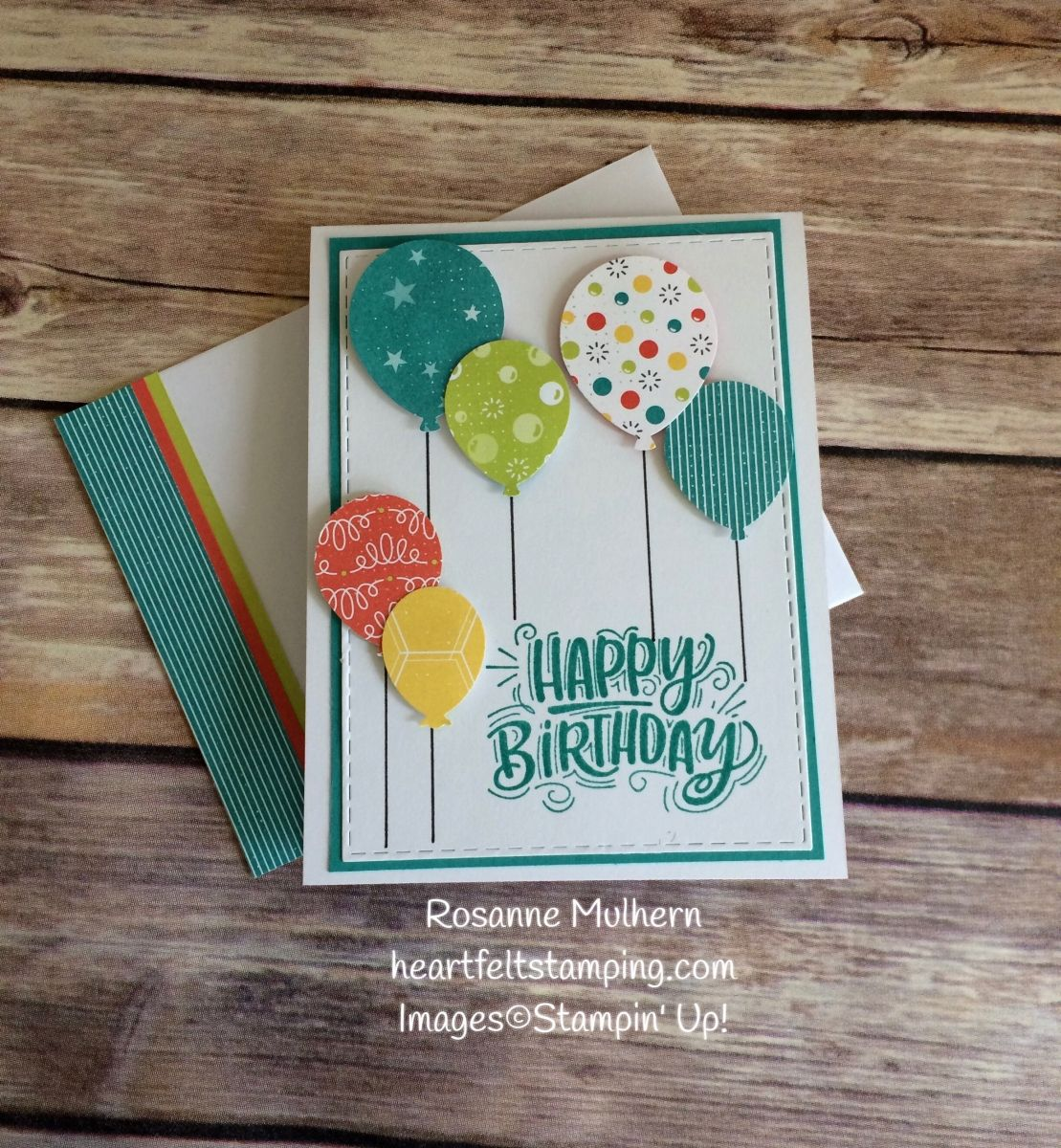 Stampin up bubbles and fizz balloon birthday card rosanne mulhern