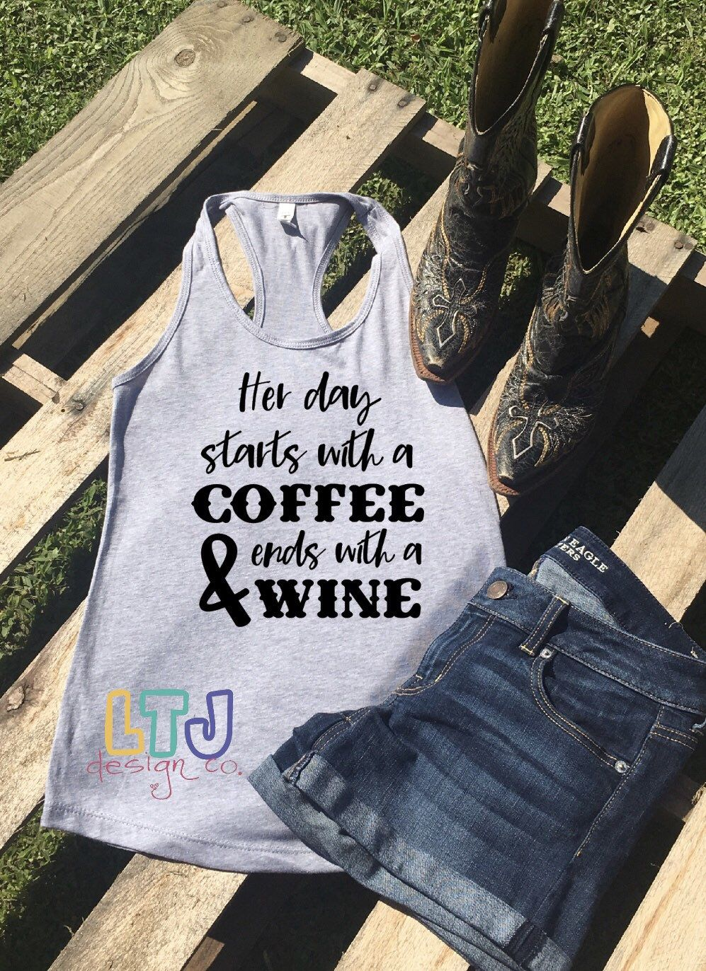 56483b9187ec Excited to share this item from my #etsy shop: Her Day Starts with A Coffee  & Ends with a Wine ~ Country Music Shirt ~ Luke Combs Shirt ~ Graphic Tank  ...