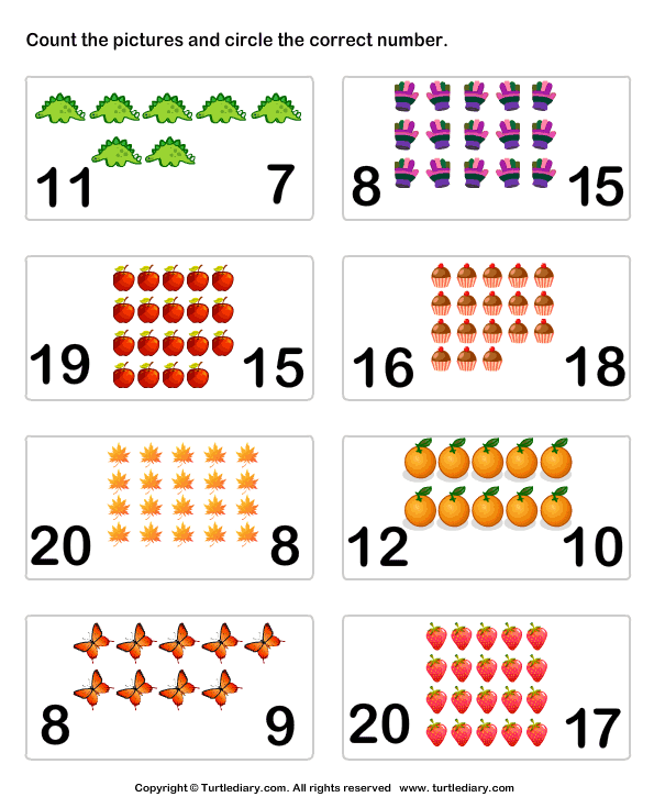 Count Pictures Turtlediary Com Math Activities Preschool Kindergarten Worksheets Kindergarten Math Worksheets Free