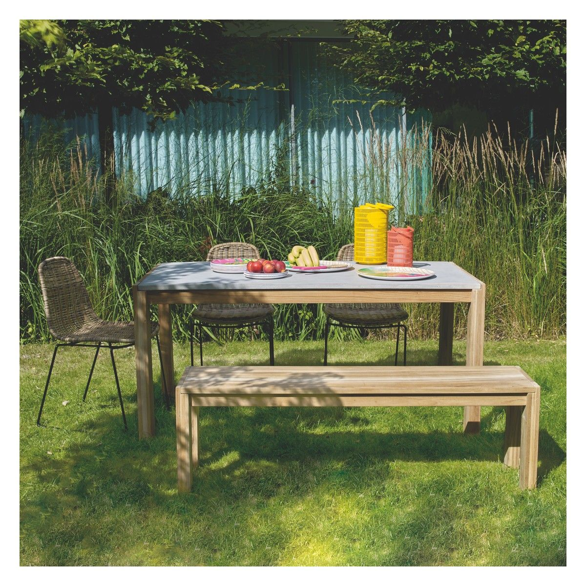 coniston concrete and teak 6 seat garden table buy now at