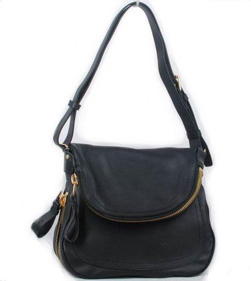 Tom Ford Black Leather Fold-Over Shoulder Bags.