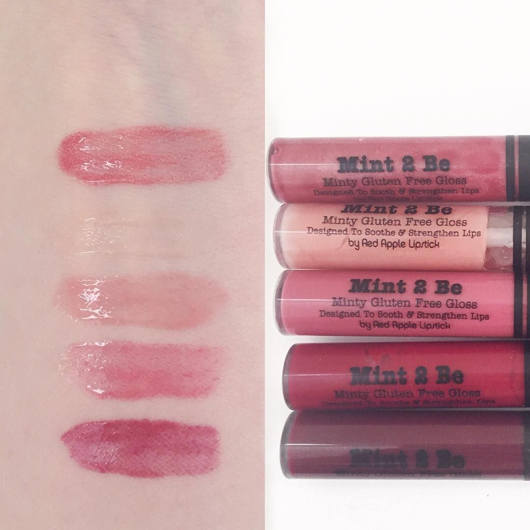 I had a request earlier in the week to do #lipgloss #swatches  I decided to start with the Mint 2 Be glosses. I'm missing a few but I went ahead and swatched the ones I do have. Top to bottom: Berried Treasure, Sun Sparkles, Honey Badger, Queen Of Hearts and Cabernet Kiss  #redapplelipstick #greenbeauty #crueltyfreemakeup #crueltyfree #vegancosmetics #vegan #glutenfree #glutenfreemakeup #redapplegirls