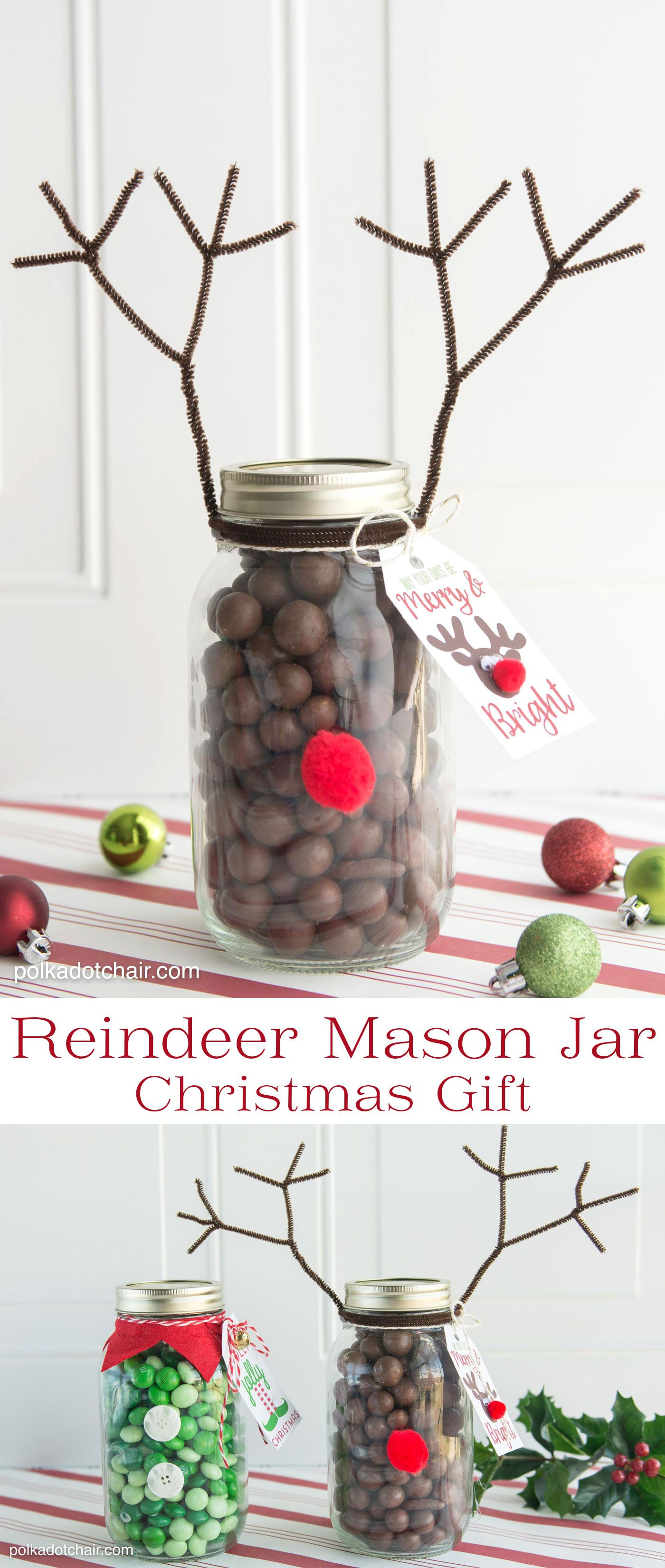 Reindeer Christmas Mason Jar Gift Idea | Pinterest | Mason jar ...