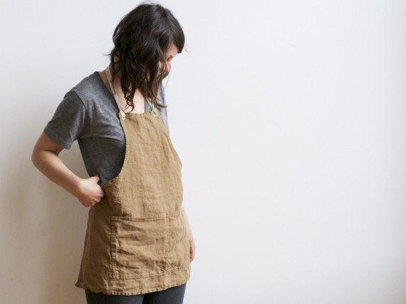 hand sewn linen apron smallbatchproduction #etsy $65