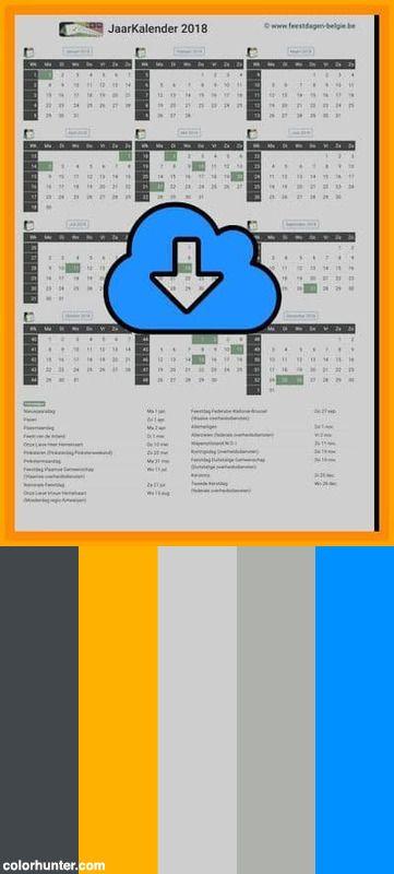 gratis jaarkalender a4 staand 2018 met weeknummers en belgie fee