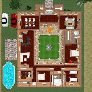 Hacienda Style House Love Hacienda Style Homes Village House Design Courtyard House Plans