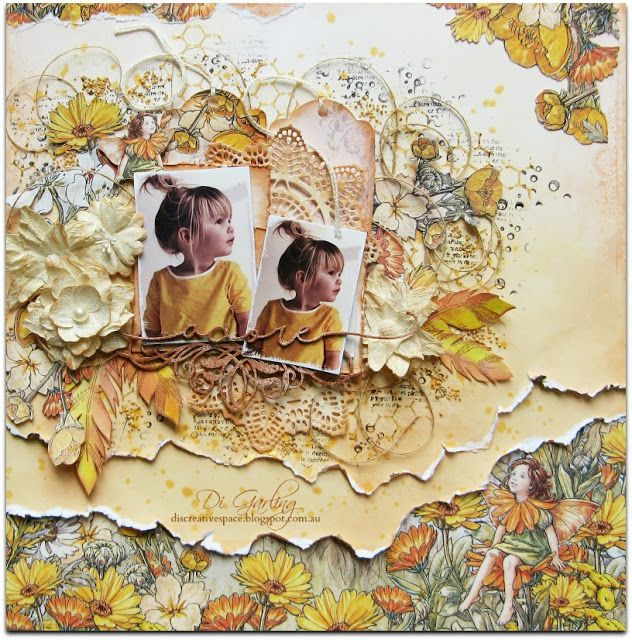 """Hi there, thanks for stopping by. Today I have another layout that is part of my February DT reveal for 49 and Market and it features their wonderful """"Flower Fairies"""" papers. I have use two pieces of"""