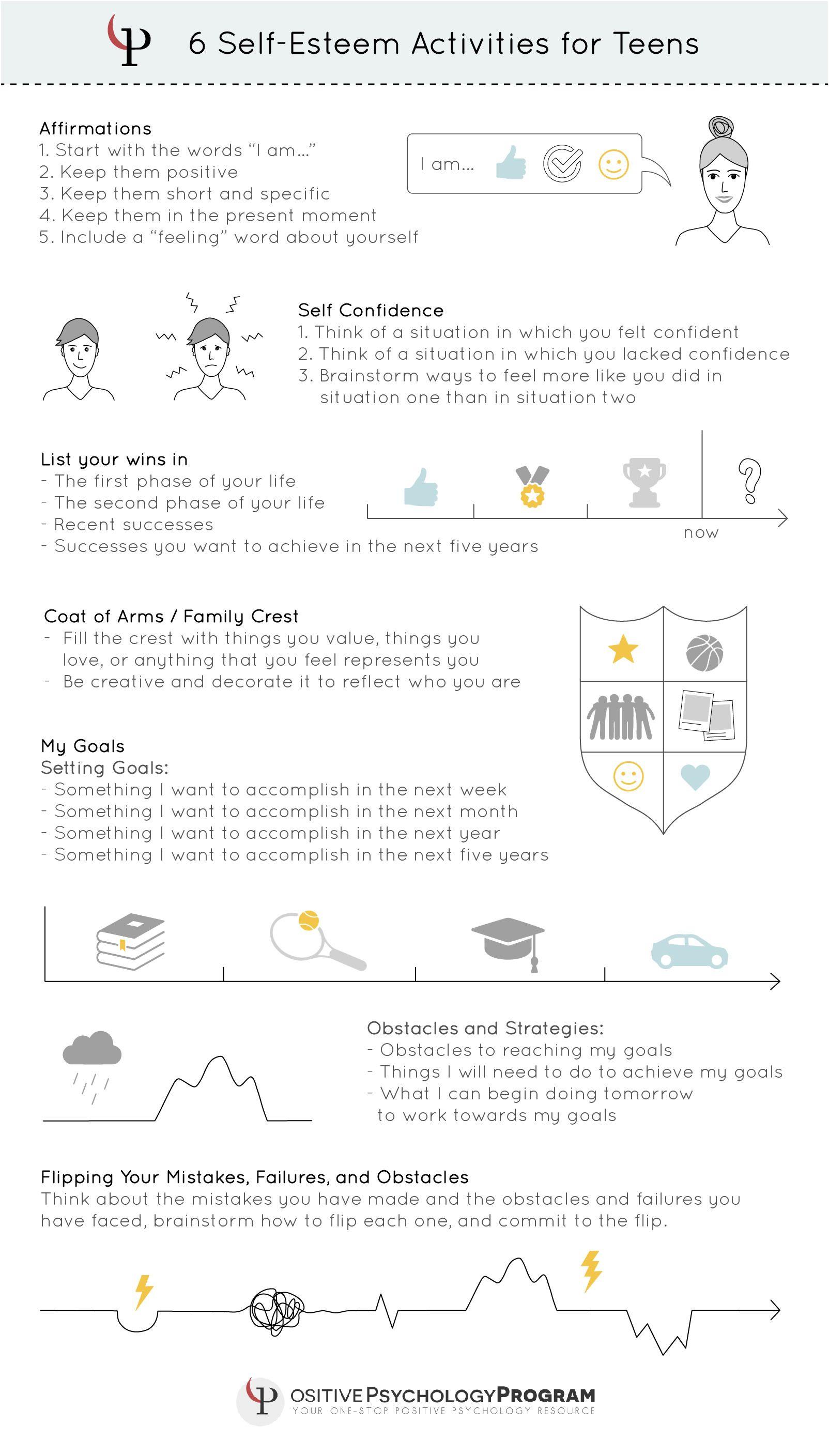 6 Self Esteem Activities For Teens Infographic