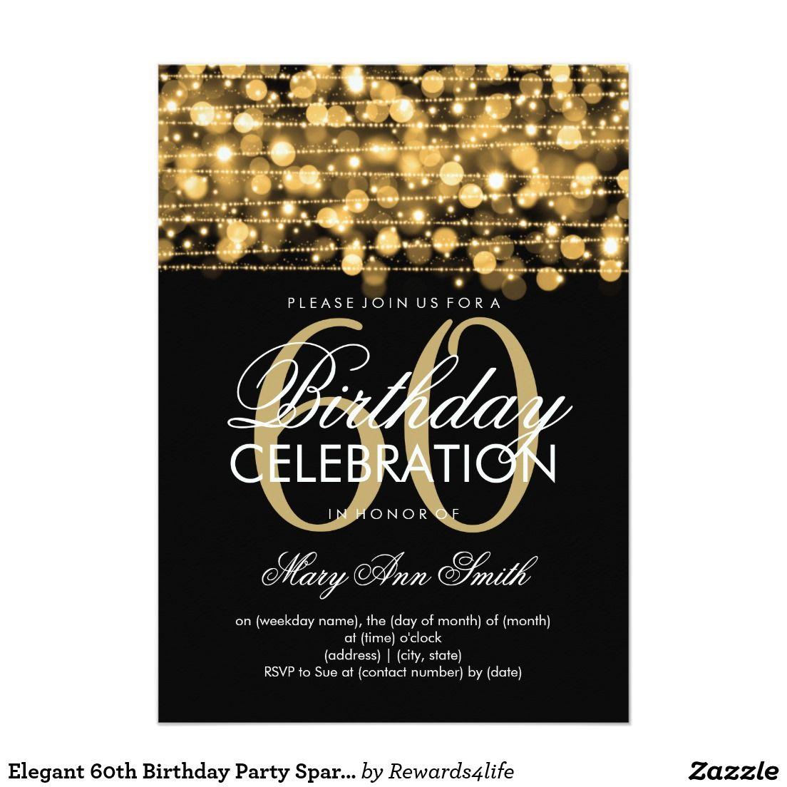 Elegant 60th Birthday Party Sparkles Gold Card Birthdays 90th