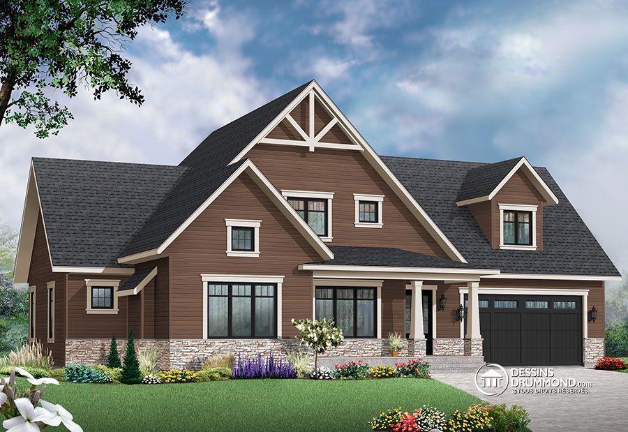 W3507-V3 - Maison style transitionnel, grand espace boni à lu0027étage - liste materiaux construction maison