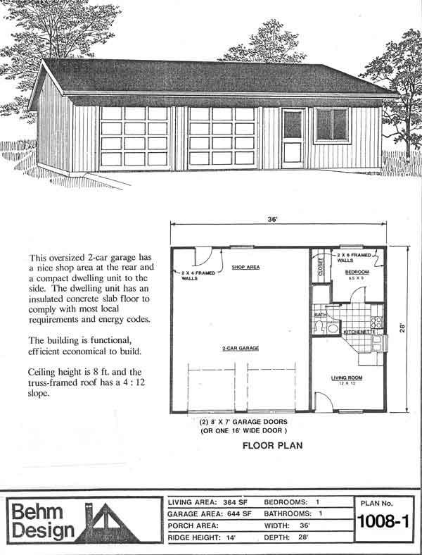 Garage with apartment plan no 1008 1 36 39 x 28 39 by behm for Garage with living quarters one level