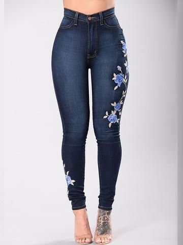 b650d0c8219 Flower Embroidered Sexy Skinny Jeans | buy some jeans | Flower jeans ...