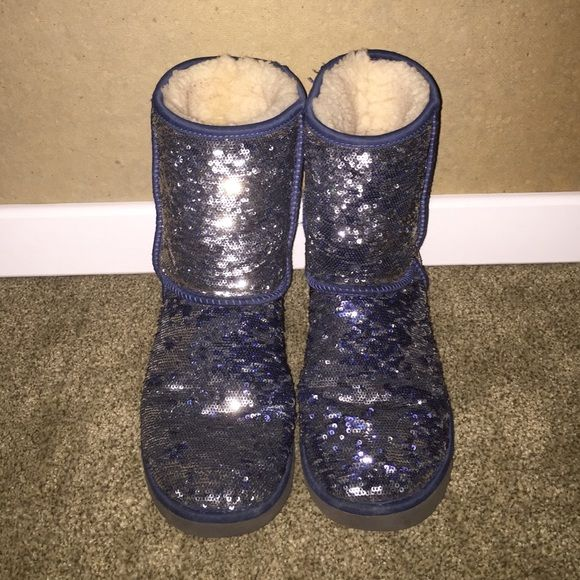 42d571225f4 Navy Blue & Silver Uggs Reversible sequin Uggs. few years old but ...