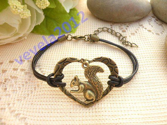 Bracelet I Love Squirrel Pretty Retro Bronze