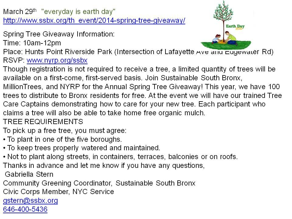 "March 29th Spring Tree Giveaway  ""everyday is earth day""  http://www.ssbx.org/th_event/2014-spring-tree-giveaway/"