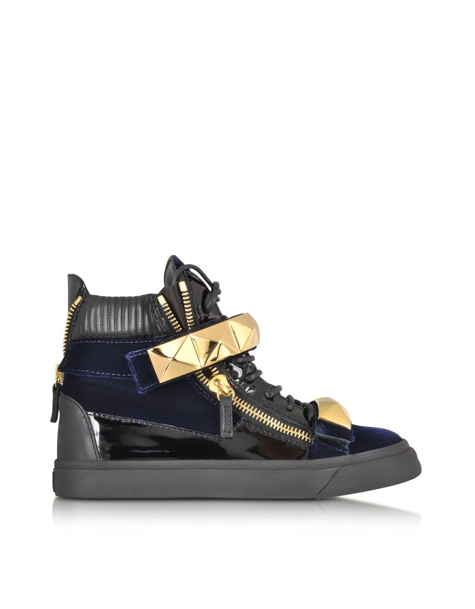 Giuseppe Zanotti London Velvet Veronica Navy High-Top Sneaker at FORZIERI