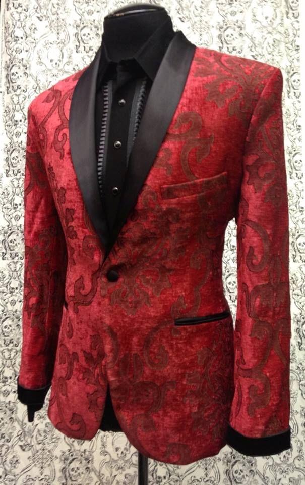 28e296b1556 DELUXE SMOKING JACKET - RED VELVET BROCADE | rockabilly wedding | prom |  mens formal wear | alternative ideas