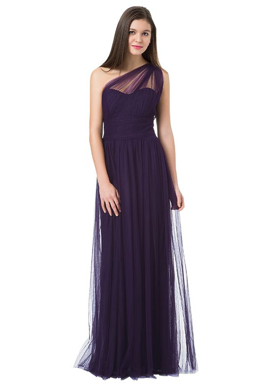 fbd72f61ee English netting one shoulder bridesmaid gown with sheer netting strap