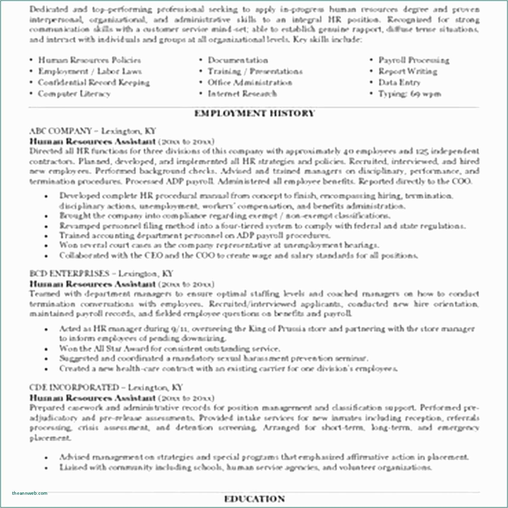 Human Resources Resume Objectives 52 Fresh Entry Level Hr