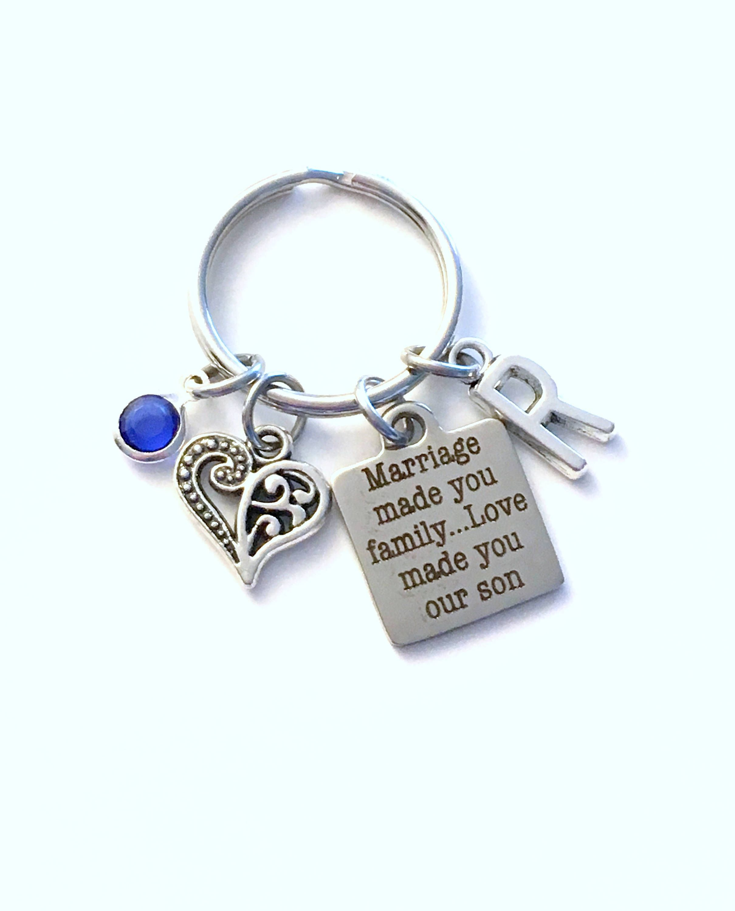 Gift for son in law keychain marriage made you family