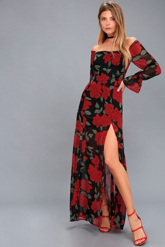 7f5b2f9d0a Win them over in the Final Rose Black Floral Print Off-the-Shoulder Maxi  Dress! Dreamy chiffon, with a red and green floral print, shapes a princess-seamed  ...
