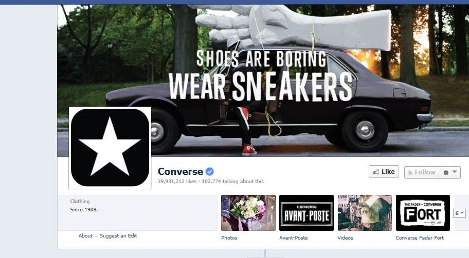 Converse has kept their cool image on their facebook page. They create a lot of social campaigns on facebook which feature their products in everyday lives, the images are usually very artistic and creative keeping with their brands style. They also post links to events they are sponsoring to spread the word.
