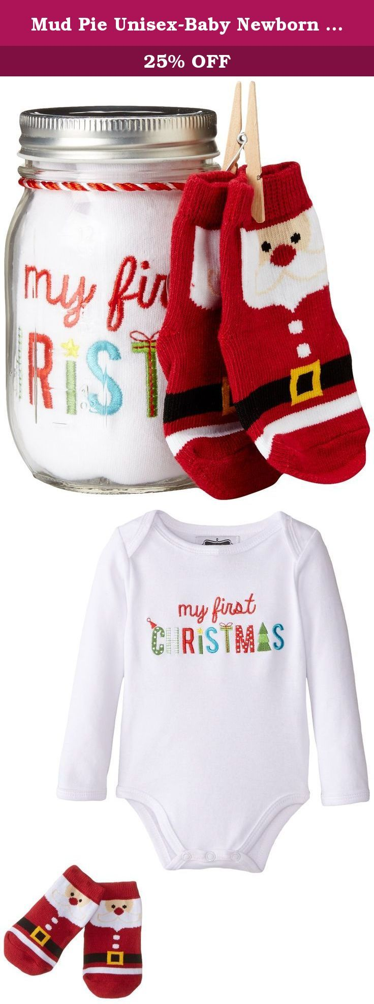 554e283d50b Mud Pie Unisex-Baby Newborn My First Christmas Embroidered Crawler and  Socks Mason Jar Set