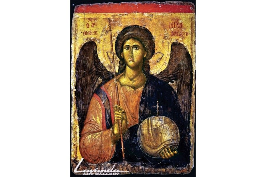 """""""Свети Архангел Михаил"""".   Иконата е изработена върху сушена минимум четири години и специално обработена дъска от дъбово, липово или кестеново дърво. Върху дъската се залепя предварително грундирано платно с отпечатани контури и основни тонове на иконата. Изрисувана е с темперни бои, позлатата е със златен варак 22 карата.  Възможно е в момента да няма наличност. В такъв случай иконата може да бъде изработена за период от около две седмици."""