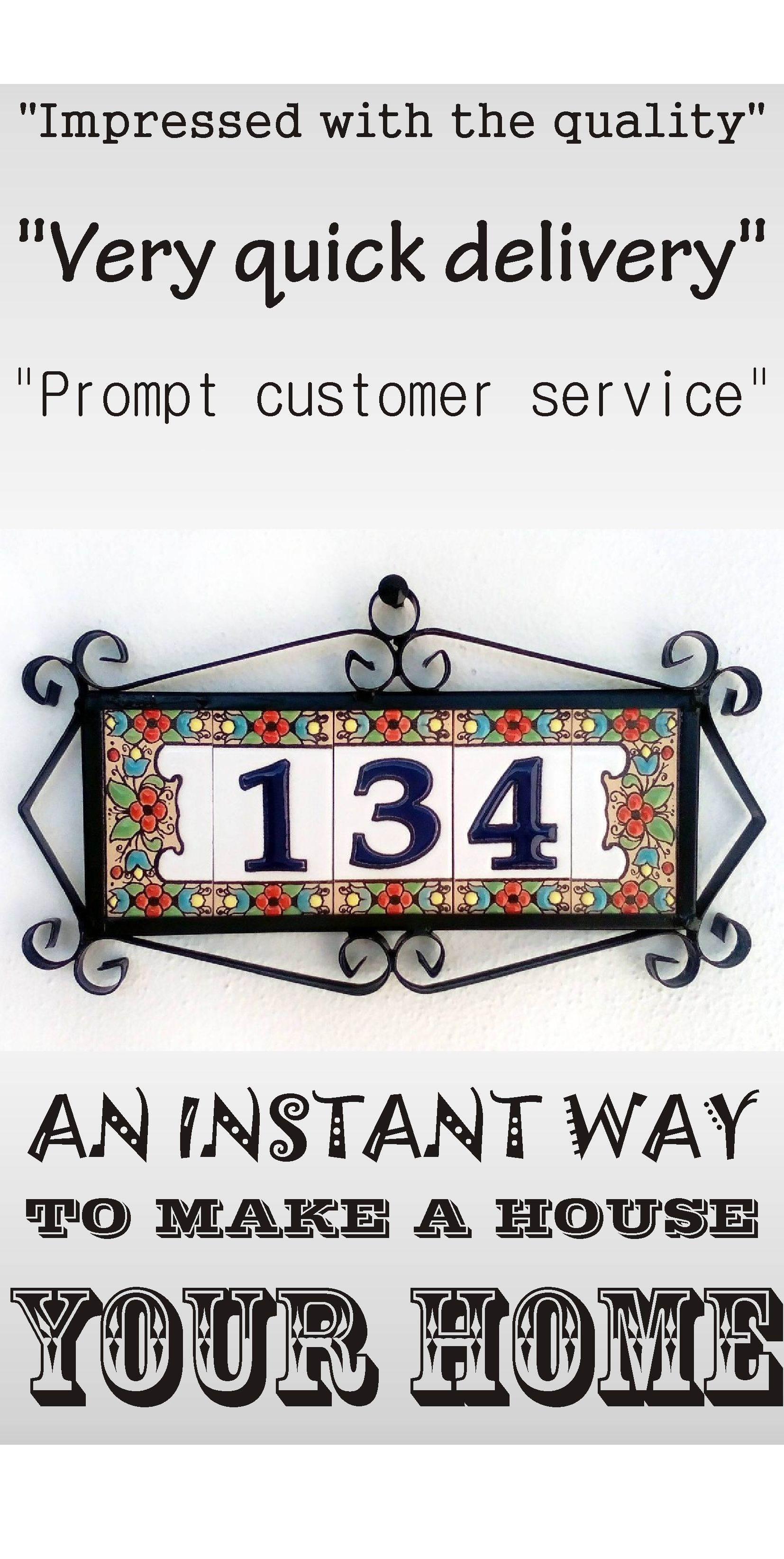 Handmade custom ceramic tile address signs
