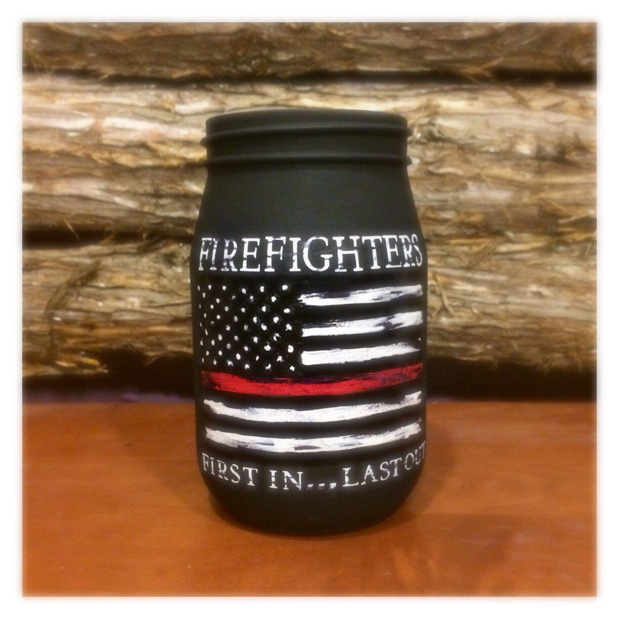 Personalized firefighter ornaments - Personalized Firefighter Gift Thin Red Line Distressed Flag Custom Firefighter Mason Jar Firefighter First In Last Out Firefighter Gift