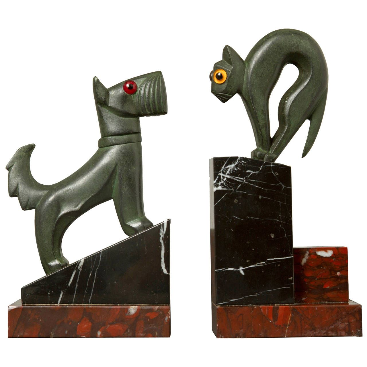 art deco pair of cat and dog bookends  modern bookends art deco  - art deco pair of cat and dog bookends