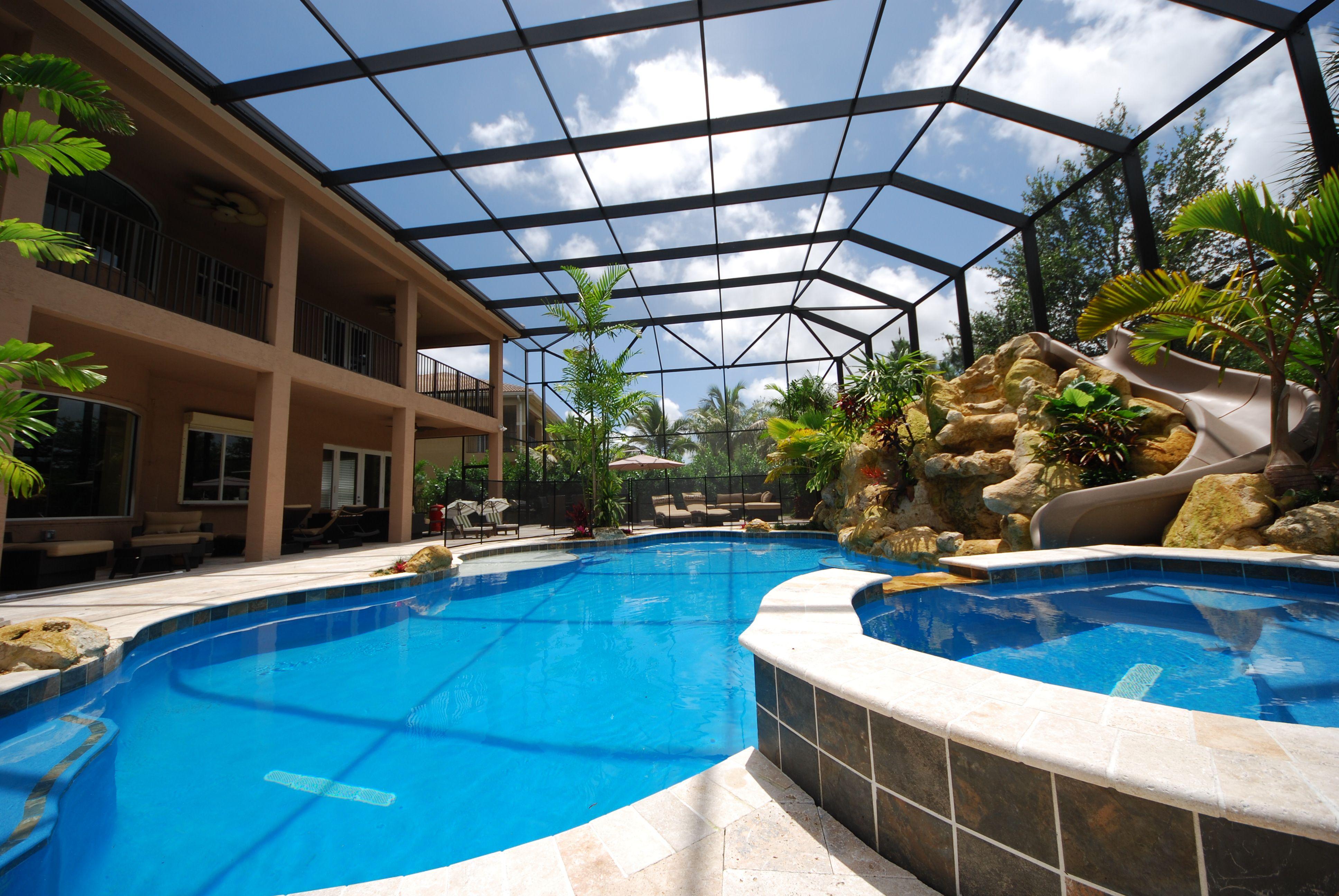 Two Story Screen Enclosure Backyard Pool Landscaping Dream Pools Backyard Pool