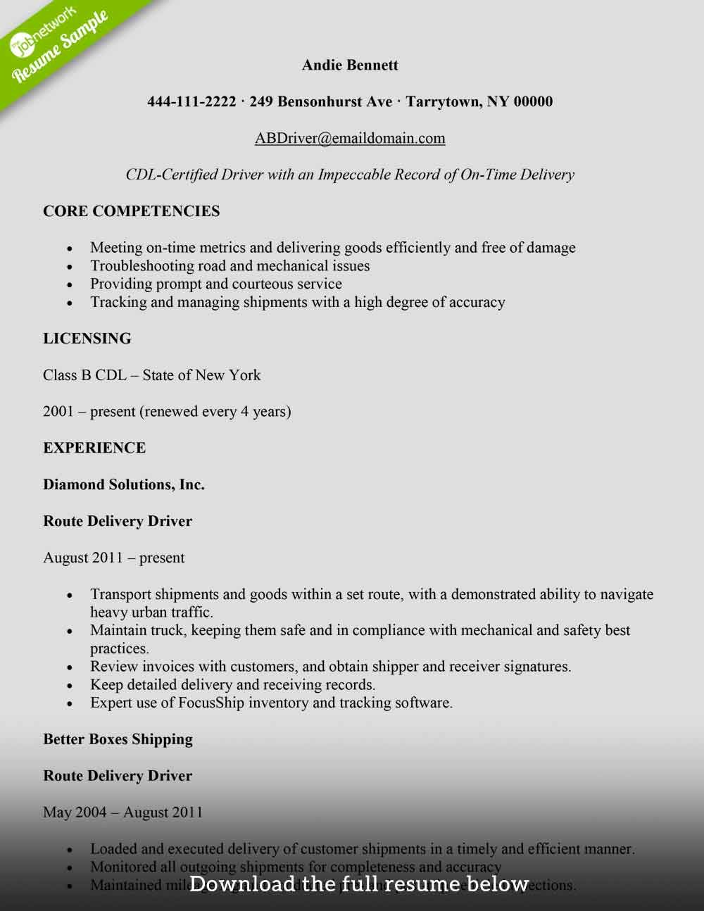 Delivery driver resume in 2020 driver job good resume