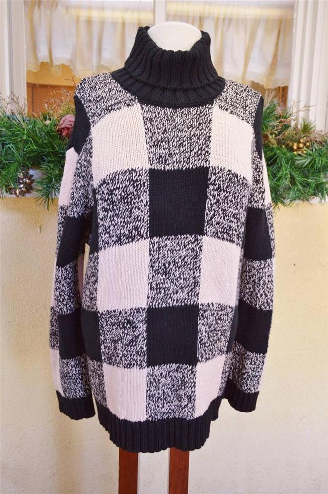 bdb31e43e7 Jones New York Large Plaid Turtleneck Sweater XL Black Ivory Blush Winter  Heavy  JonesNewYork  TurtleneckMock
