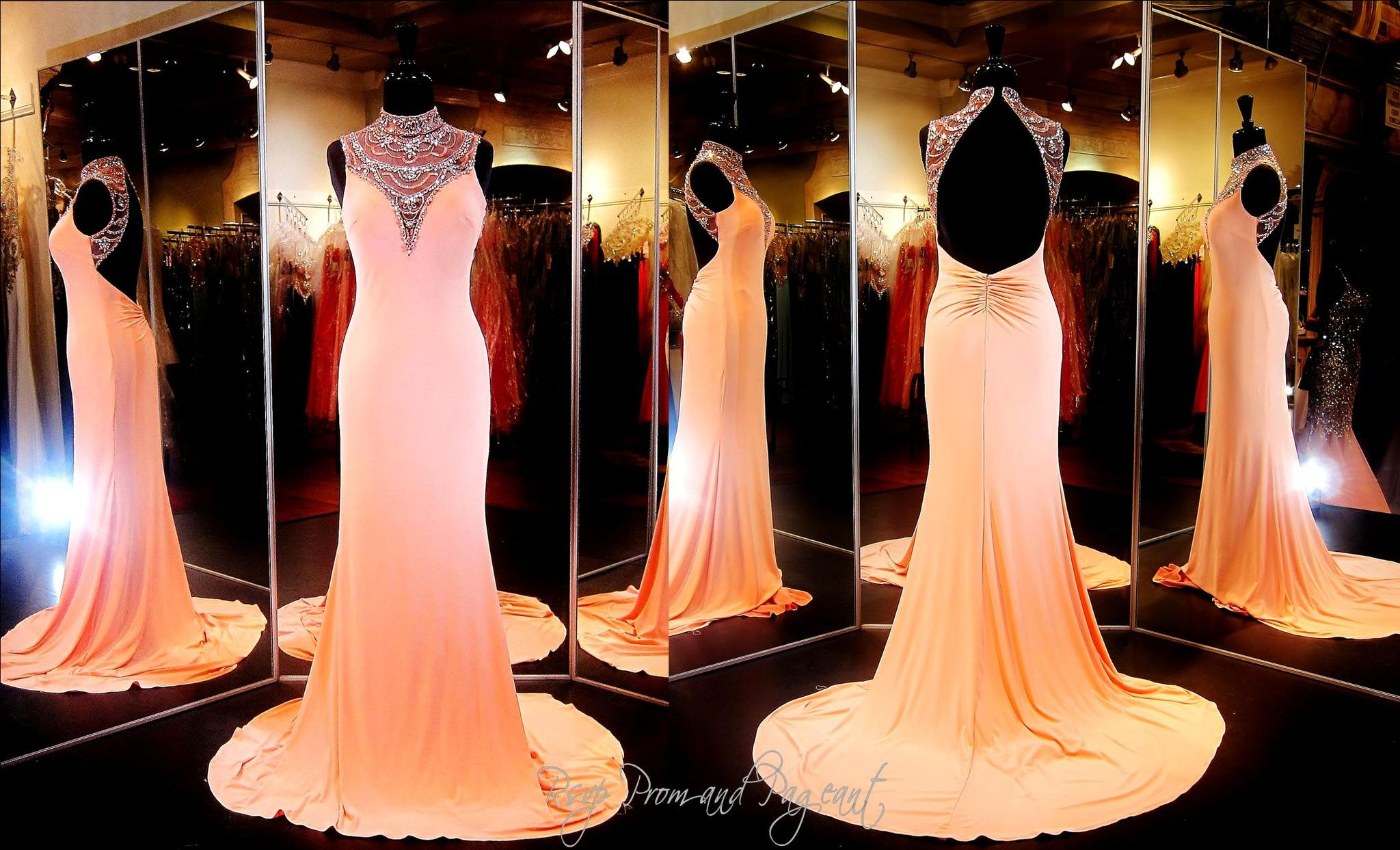 Coral Jersey Prom or Pageant Dress-High Beaded Neckline-Low Open Back-115BP0X23200375 at Rsvp Prom and Pageant, Atlanta, GA