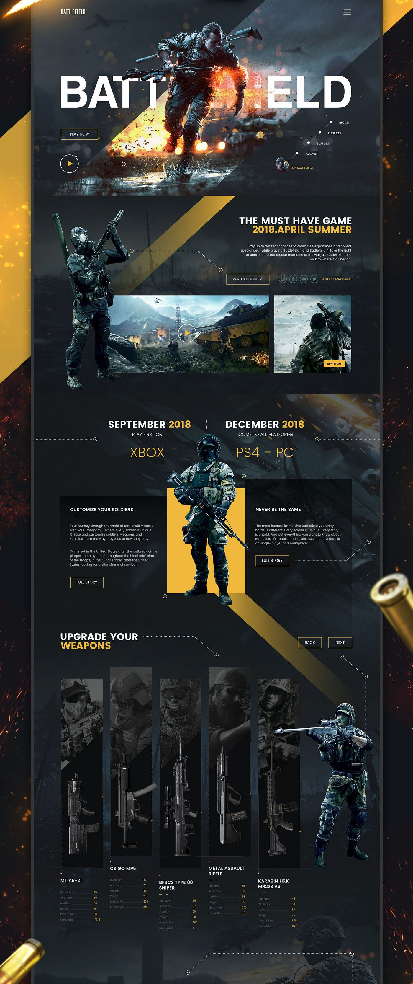 Battlefield UI/UX Design / Web Design on Behance #interfacedesign