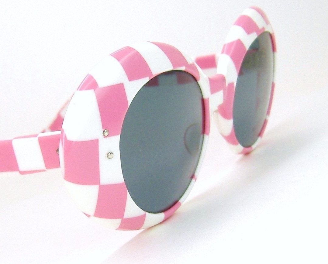 Vintage 60s Pink Checkered  Sunglasses Eyewear Sunglasses France