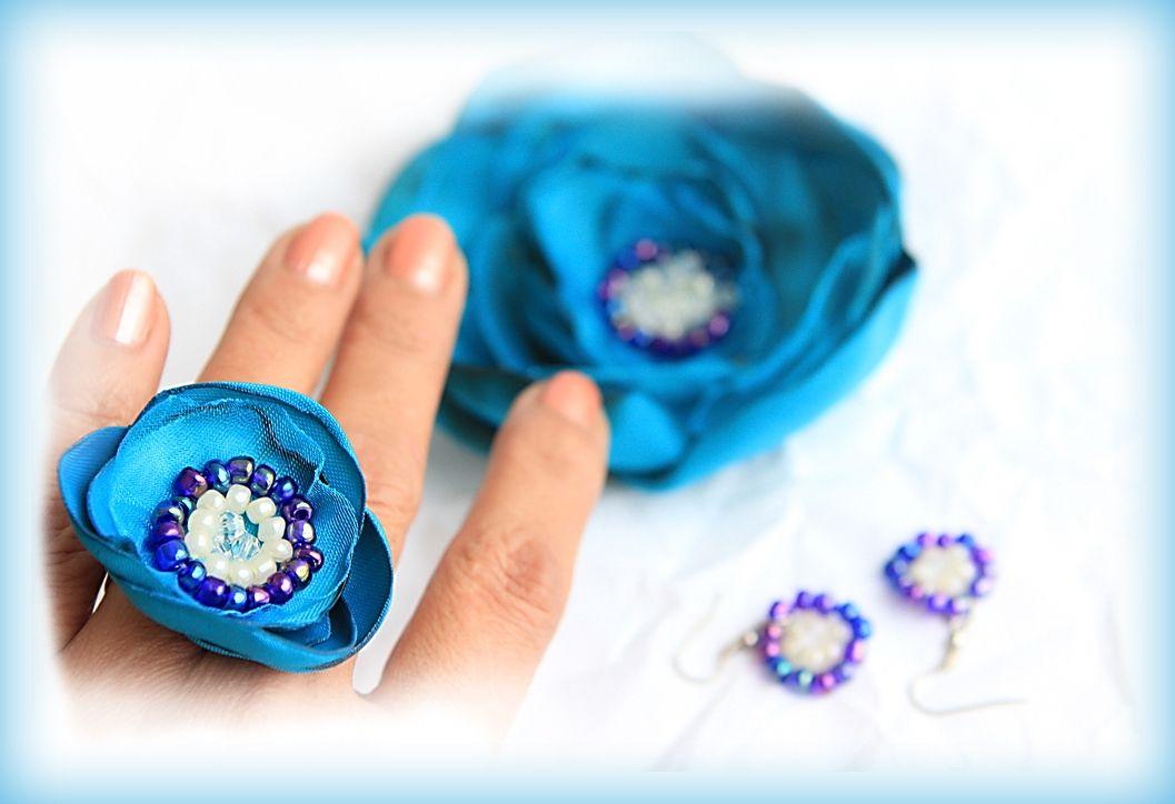 Set bijuterii textile cu margele, bleu-turcoaz, Dimineti de iarna (45 LEI la irinarosca.breslo.ro)