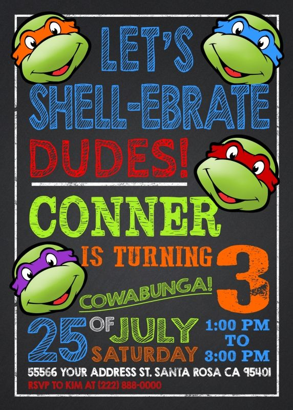 Ninja Turtles Invitation TMNT Invite Chalkboard Turtle Party Printable Leonardo Michelangelo Donatello Raphael