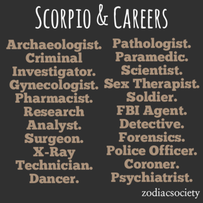 """Scorpio Career Ideas totally read that as """"criminal"""" and"""