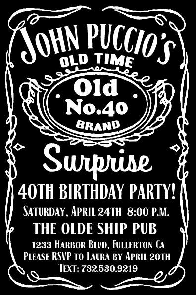 Jack Daniels Label 40th Birthday Invitation DI 506 Custom Invitations And Announcements For All Occasions