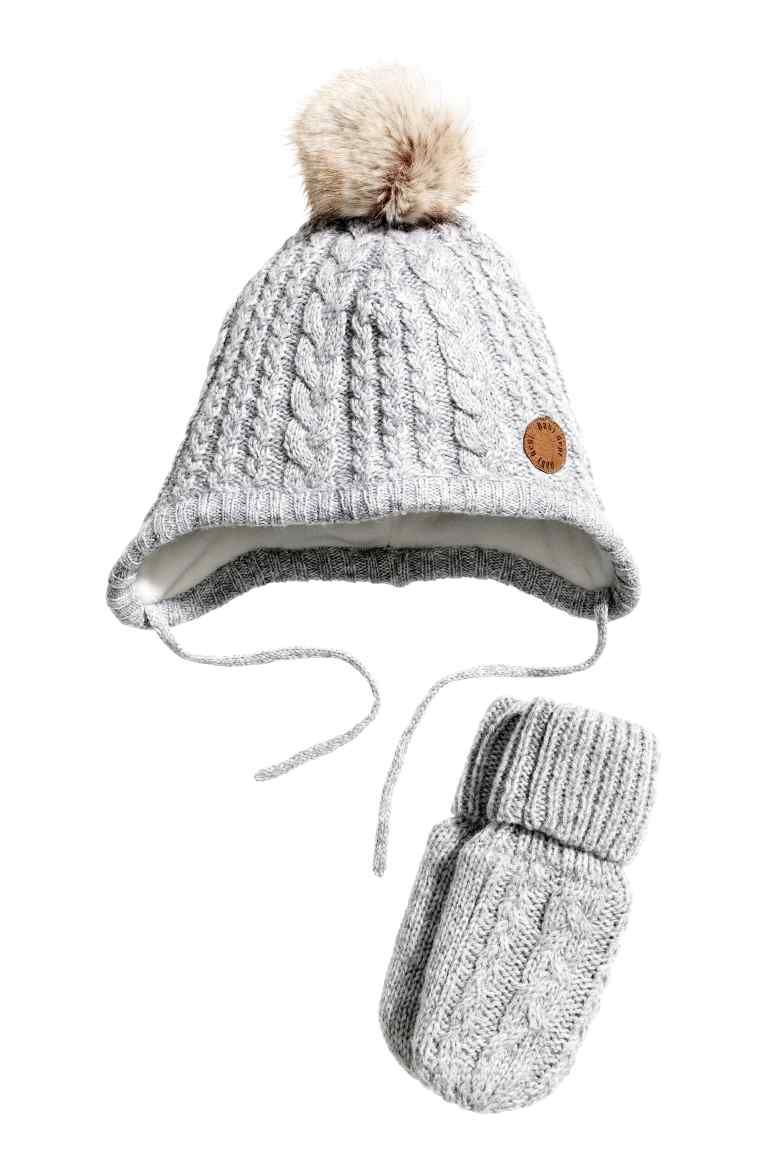e1004c4a0ff54 Knitted hat and mittens  Set with a hat and mittens in a soft