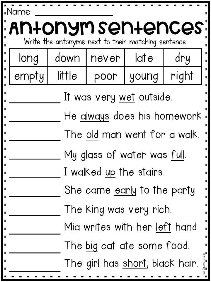 Antonyms worksheet for first grade and second grade ...