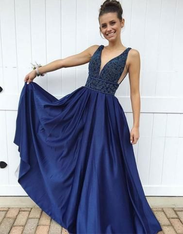 0d710e9be3f Chic A-line V-neck Royal Blue Satin Simple Sleeveless Long Prom Dress  Evening Dress AM197