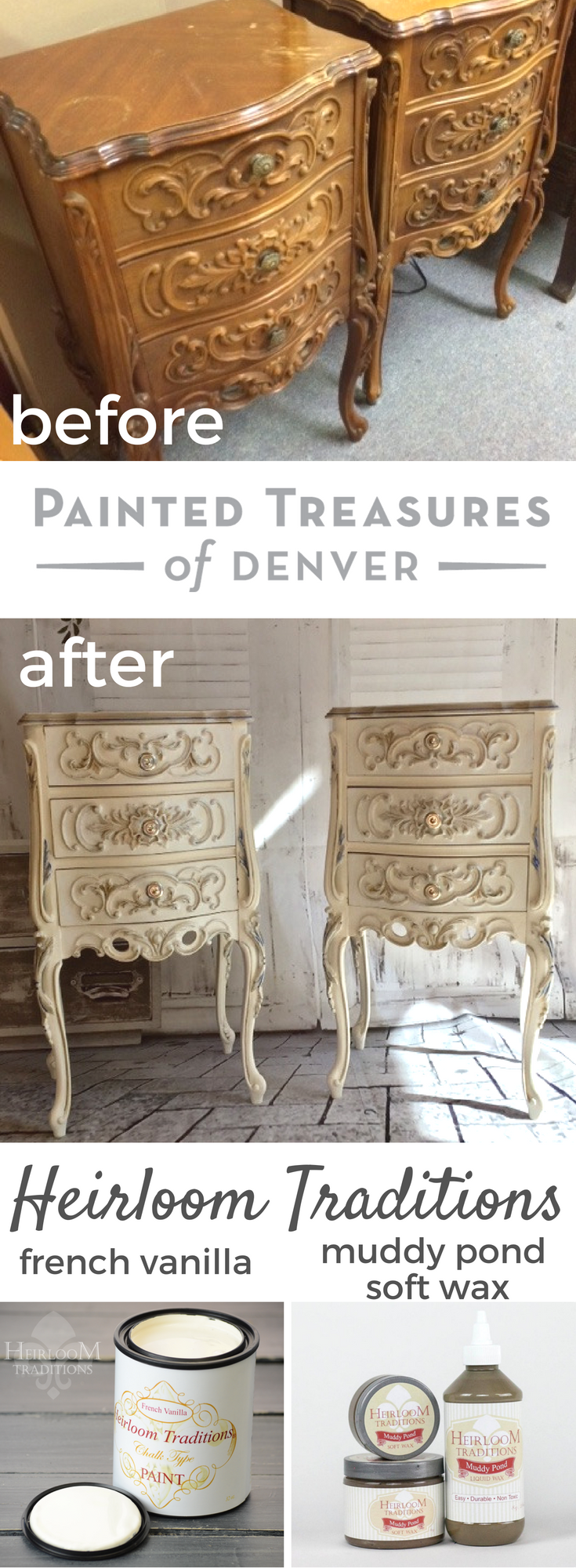 These french provincial night stands got a paint makeover with heirloom traditions french vanilla chalk type