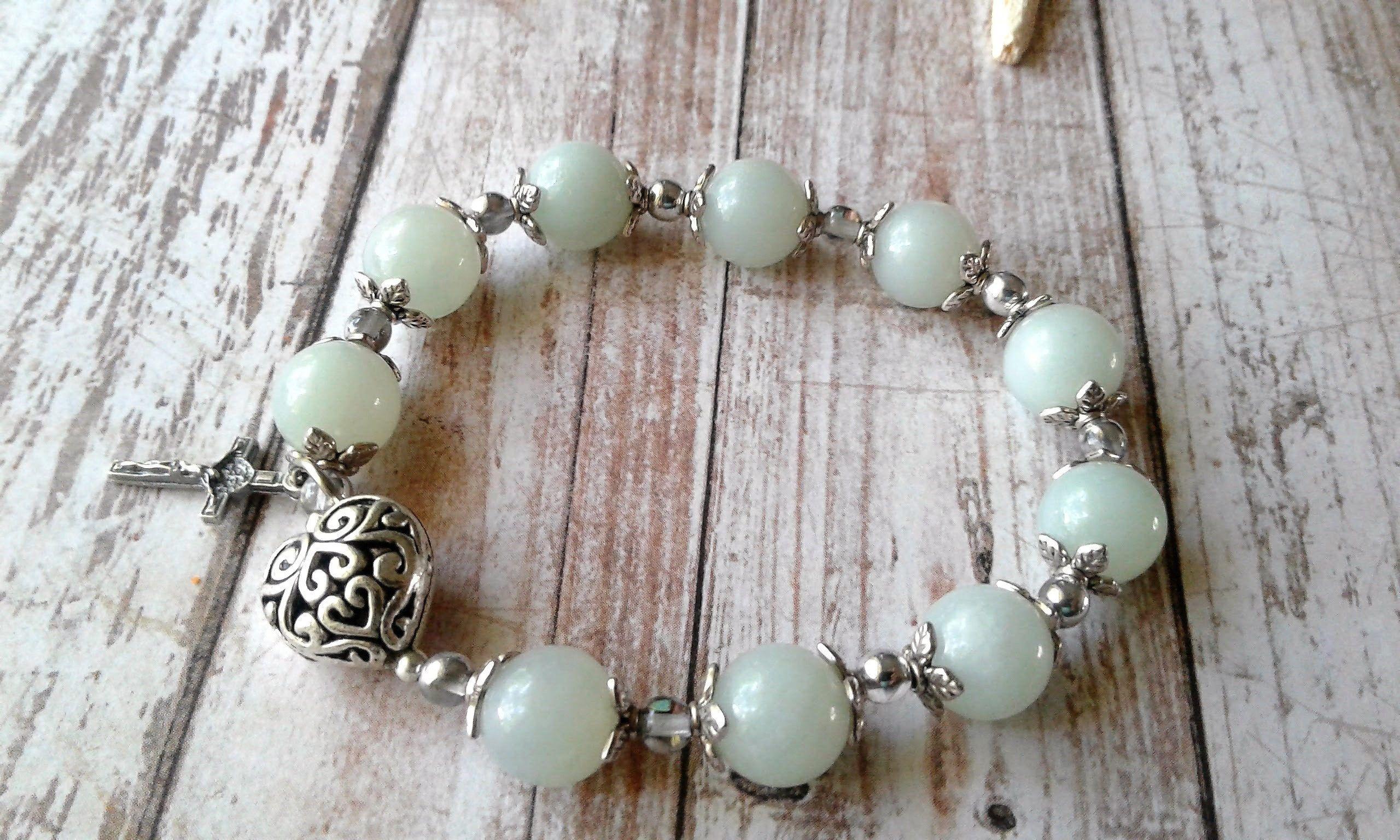 Amazonite Catholic Rosary Bracelet--Gemstone Prayer Bracelet ...