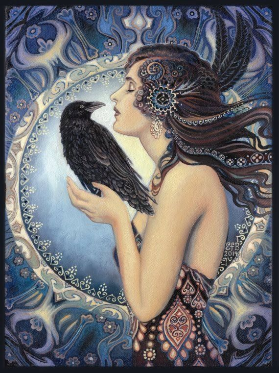 Raven Goddess 11x14 Print Pagan Mythology Celtic Witch Art Nouveau
