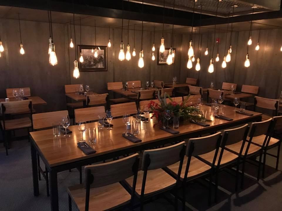 commercial restaurant lighting. #bfmseating memphis with natural solid wood seats complete this space! #elegant restaurant lighting commercial