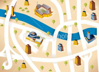City Road map Royalty Free Stock Vector Art Illustration